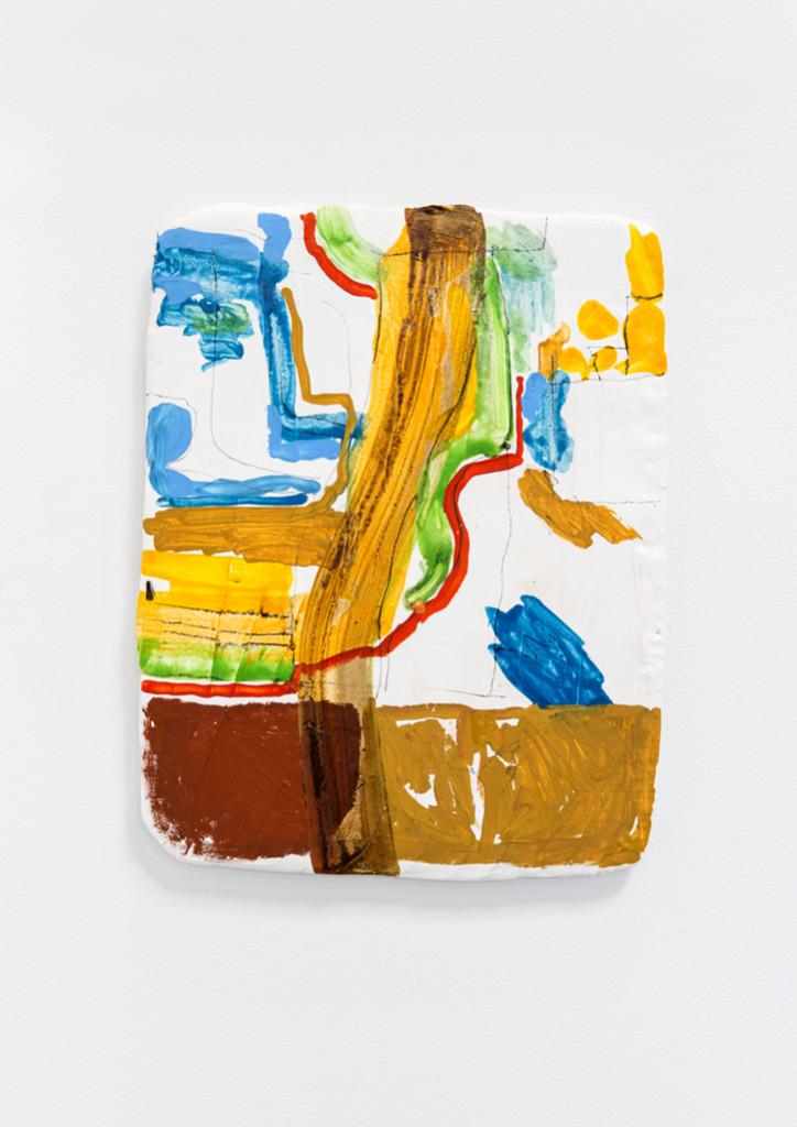 "Farm & Mott, 2014, Watercolor, gouache, plaster, fibreglass mesh, plywood 9.5 x 12"""